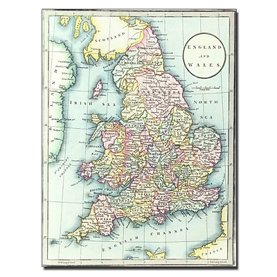 Trademark Fine Art R.H. Laurie 'Map of England & Wales 1852' Canvas Art 14x19 Inches