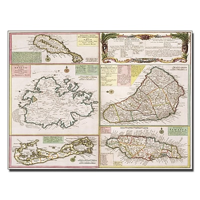 Trademark Fine Art Map of English Colonies in the Caribbean 1750' Canvas Art 14x19 Inches