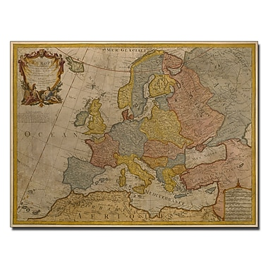 Trademark Fine Art Paris Guillaume Delisle 'Map of Europe 1700' Canvas Art 14x19 Inches