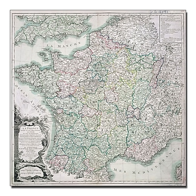 Trademark Fine Art Louis Charles Desons 'Map of France 1765' Canvas Art 18x18 Inches