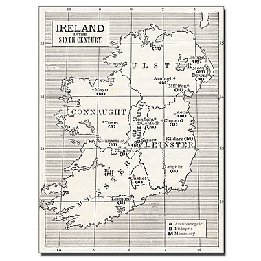 Trademark Fine Art 'Map of Ireland in the Sixth Century' Canvas Art 35x47 Inches