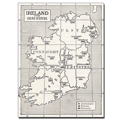 Trademark Fine Art 'Map of Ireland in the Sixth Century' Canvas Art 14x19 Inches