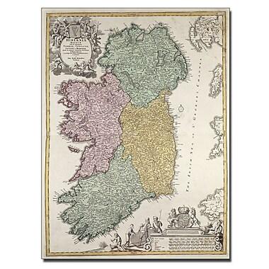 Trademark Fine Art Johann B. Homann 'Map of Ireland 1730' Canvas Art 18x24 Inches