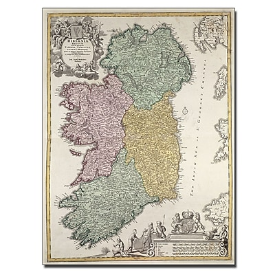 Trademark Fine Art Johann B. Homann 'Map of Ireland 1730' Canvas Art 18x24 Inches