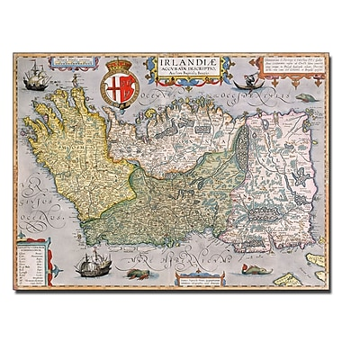 Trademark Fine Art 'Map of Ireland' Canvas Art 24x32 Inches
