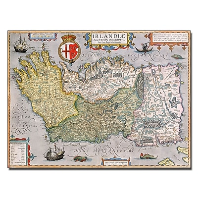 Trademark Fine Art 'Map of Ireland' Canvas Art 18x24 Inches