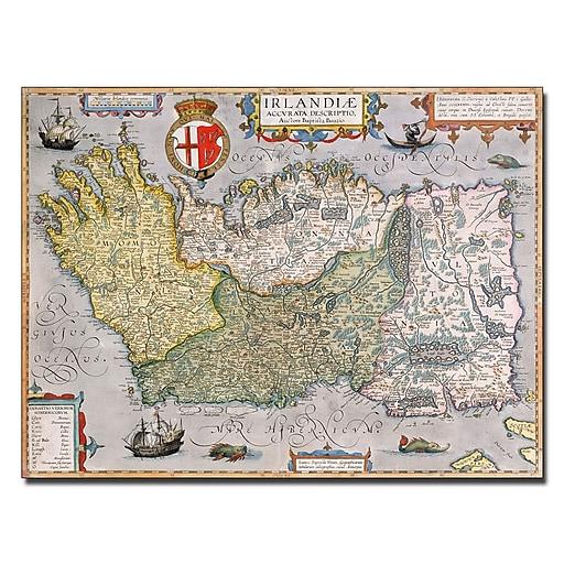 Trademark Fine Art Map Of Ireland Canvas Art 18x24 Inches Staples