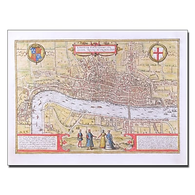Trademark Fine Art 'Map of London c. 1572' Canvas 24x32 Inches