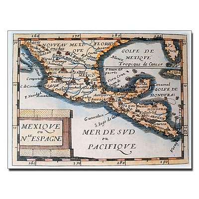 Trademark Fine Art Map of Mexico or New Spain 1625' Canvas Art 14x19 Inches