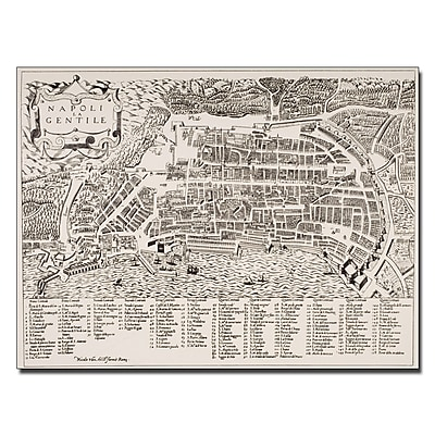 Trademark Fine Art Map of Naples 1600' Canvas Art 18x24 Inches