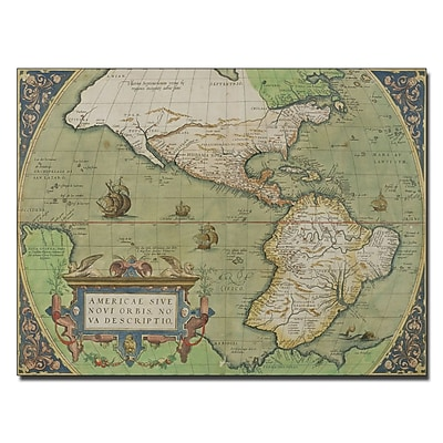 Trademark Fine Art Map of North and South America 1570' Canvas Art 24x32 Inches