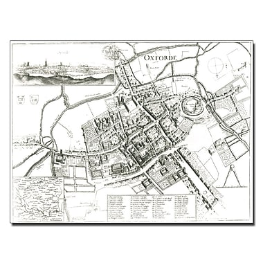 Trademark Fine Art Wenceslaus Hollar 'Map of Oxford 1643' Canvas Art 14x19 Inches
