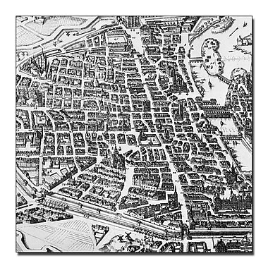 Trademark Fine Art Map of Paris 1620' Canvas Art 24x24 Inches