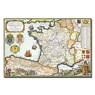 Trademark Fine Art D. Serveaux 'Map of Routes of St. James 1648' Canvas Art 16x24 Inches