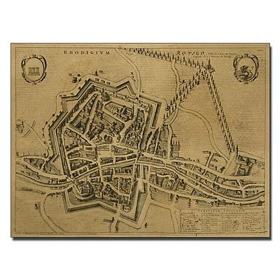Trademark Fine Art Pierre Mortier 'Map of Rovigo 1704' Canvas Art 14x19 Inches