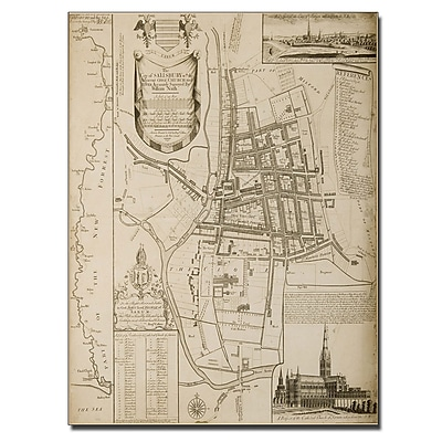 Trademark Fine Art William Nash 'Map of Salisbury 1751' Canvas Art 14x19 Inches