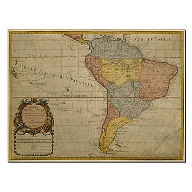 Trademark Fine Art Guillaume Delisle Map of South America 1700 Canvas Art 24x32 Inches