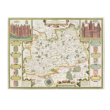 Trademark Fine Art Jodocus Hondius 'Map of Surrey' Canvas Art 18x24 Inches