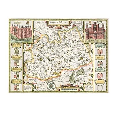 Trademark Fine Art Jodocus Hondius 'Map of Surrey' Canvas Art 18x24 Inches