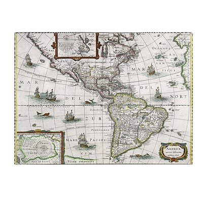 Trademark Fine Art Henricus Hondius 'Map of the Americas 1631' Canvas Art 14x19 Inches