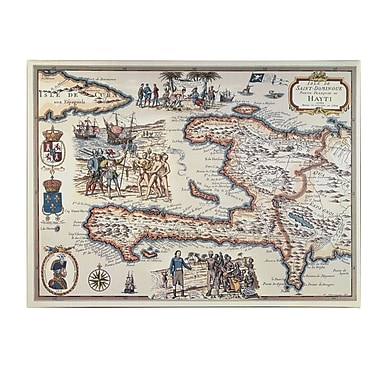 Trademark Fine Art Map of the Island of Haiti 1789' Canvas Art 14x19 Inches