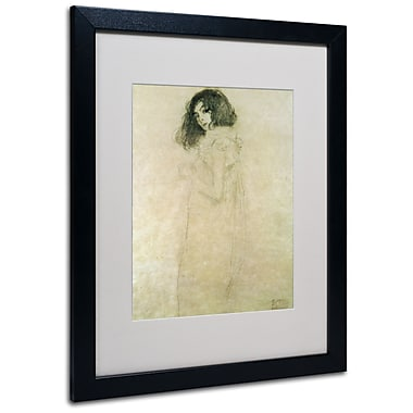 Trademark Fine Art Gustav Klimt 'Portrait of a Young Woman 1896-97' Matted Fra Black Frame 16x20 Inches