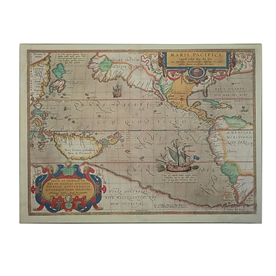 Trademark Fine Art Abrahamus Ortelius 'Map of the Pacific 1589' Canvas Art 22x32 Inches