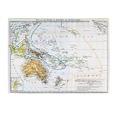 Trademark Fine Art 'Map of the Races of Oceania and Australasia' Canvas Art 18x32 Inches