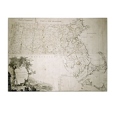 Trademark Fine Art Map of the State of Massachusetts 1801' Canvas Art 16x24 Inches