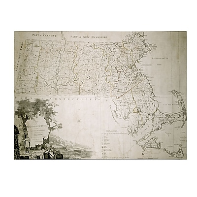 Trademark Fine Art Map of the State of Massachusetts 1801' Canvas Art 14x19 Inches