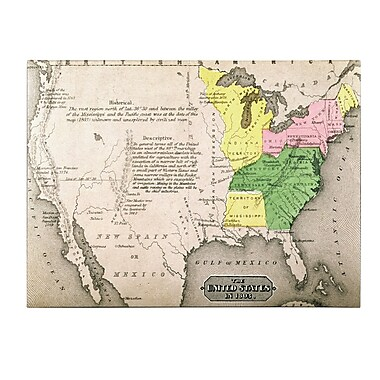 Trademark Fine Art 'Map of the United States in 1803' Canvas Art 16x24 Inches