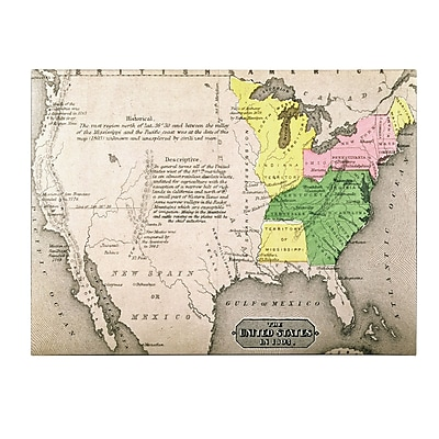 Trademark Fine Art 'Map of the United States in 1803' Canvas Art 14x19 Inches