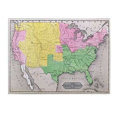 Trademark Fine Art 'Map of the United States in 1861' Canvas Art 14x19 Inches