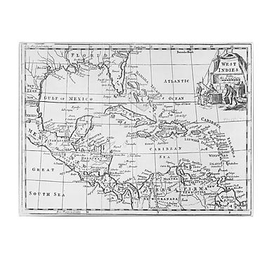Trademark Fine Art Map of the West Indies Florida & South America' Canvas Art 14x24 Inches