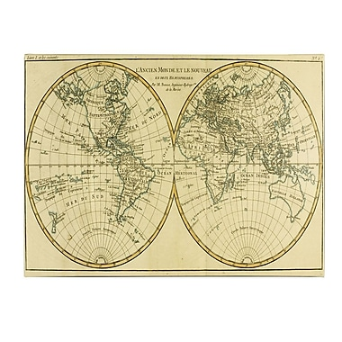 Trademark Fine Art Charles Bonne 'World Map in Two Hemispheres' Canvas Art 18x32 Inches