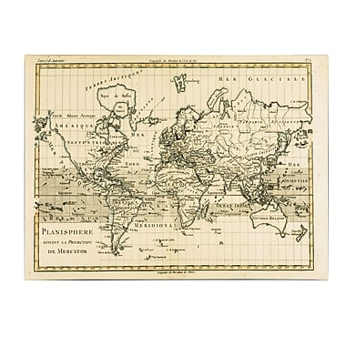 Trademark Fine Art Charles Bonne 'Mercator Map of the World' Canvas Art 16x24 Inches
