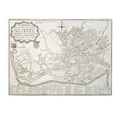 Trademark Fine Art Mathew 'City and Suburbs of Bristol 1819' Canvas Art 24x32 Inches