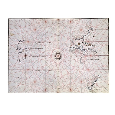 Trademark Fine Art Nautical Chart of the Pacific Ocean 1500's' Canvas Art 16x24 Inches