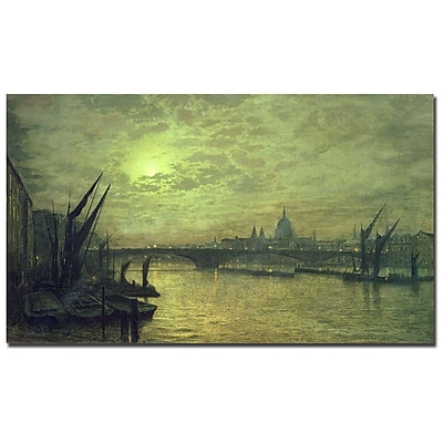 Trademark Fine Art John Grimshaw 'The Thames by Moonlight 1884' Canvas Art 18x32 Inches
