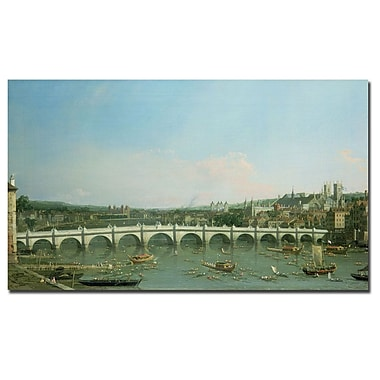 Trademark Fine Art Canaletto, 'Westminster Bridge' Canvas Art 14x24 Inches