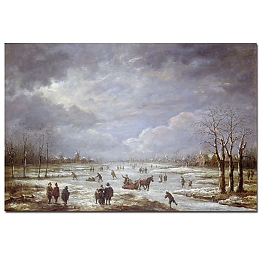 Trademark Fine Art Aert van der Neer 'Winter Landscape' Canvas Art 16x24 Inches
