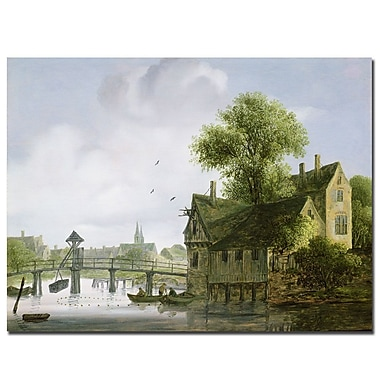 Trademark Fine Art Joseph Faruquharson 'Town with A Bridge' Canvas Art
