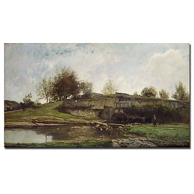 Trademark Fine Art Charles Daubigny 'The Lock at Optevoz, 1855' Canvas Art