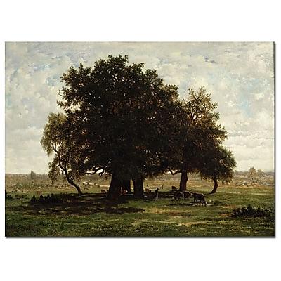 Trademark Fine Art Pierre Rousseau 'Hold Oaks, Apremont, 1850' Canvas Art 18x32 Inches