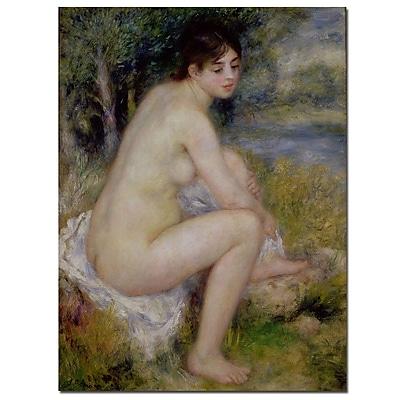 Trademark Fine Art Pierre Renoir 'Nude in a Landscape, 1883' Canvas Art 18x24 Inches