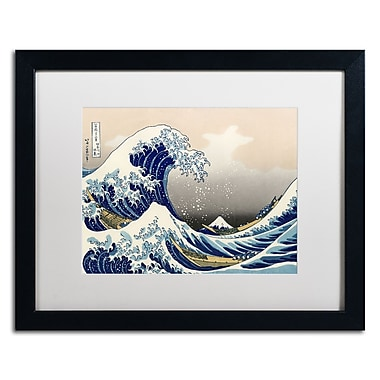 Trademark Fine Art Katsushika Hokusai 'The Great Kanagawa Wave' Matted A Black Frame 16x20 Inches