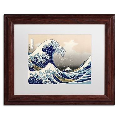 Katsushika Hokusai 'The Great Kanagawa Wave' Matted Framed A - 11x14 Inches - Wood Frame