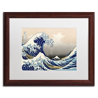Katsushika Hokusai 'The Great Kanagawa Wave' Matted Framed A - 16x20 Inches - Wood Frame