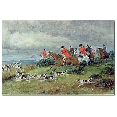 Trademark Fine Art Randolph Caldecott 'Fox Hunting in Surrey' Canvas Art 16x24 Inches