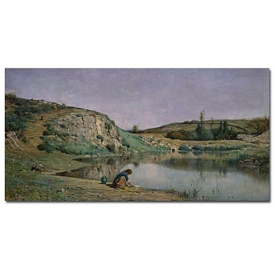 Trademark Fine Art Adolphe Appian 'Shore of Lake Bourget' Canvas Art 16x32 Inches